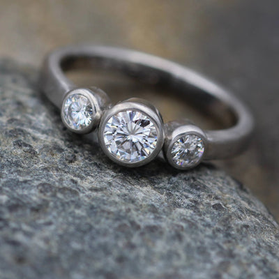 Moissanite Bezel Matte  Palladium Ring - Forever One Moissanite Engagement Ring - Palladium Moissanite Engagement  - Alternative Engagement