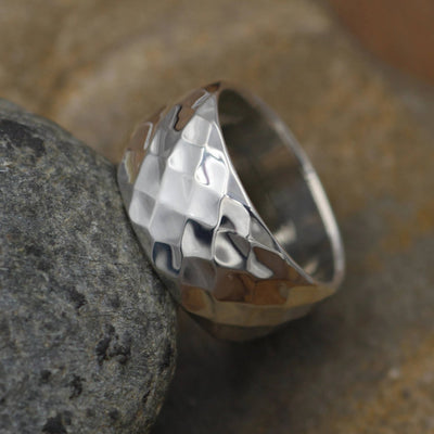 Hammered Texture Wide Silver Ring - Faceted SterlingRing - Thick Silver Ring - Shiny Finish Ring - Thick Ring - Wide Ring