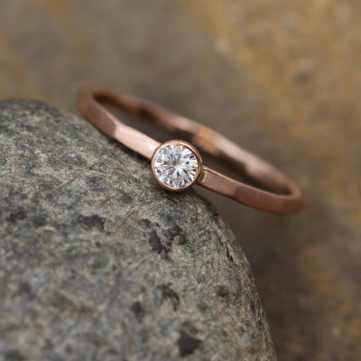 Moissanite 3mm Matte Bezel Stacking Ring - Rose Gold Moissanite Bezel Ring - Rose Gold Moissanite Stacking Ring - Forever one Stackable