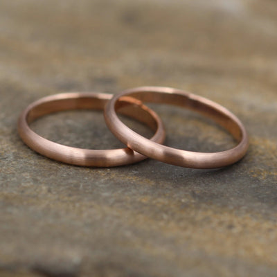 Rose Gold Wedding Band 2.5x1.2mm - Simple Rose Gold Band - Engravable Band - Half Round Gold Band - Hand Made in 14 kt Rose Gold