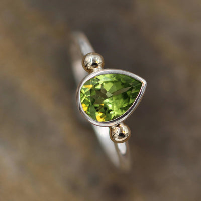Peridot Tear Drop 7x9 Bezel Ring - Gold Bead Peridot Ring - Glossy Finish Solitaire Ring - Pear Ring - Alternative Engagement Ring