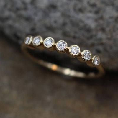Moissanite Small Bezel Wedding Ring in 14 or 18  Karat Gold - Glossy Finish- Alternative Engagement Ring - Moissanite Bezel Ring