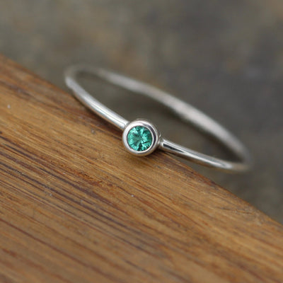 Emerald 2.75mm Bezel Stacking Ring - Silver 1.2mm Round Stacking Ring - In Silver and Gold - Stackable - Smooth Texture - Petite Emerald