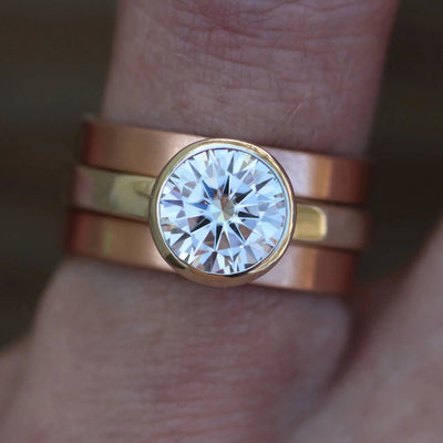 Moissanite Bezel Ring Set - Rose Gold and 14 or 18kt White Gold Wide Ring Set - Wide Rose Gold Moissanite Set - Interlocking - Stackable