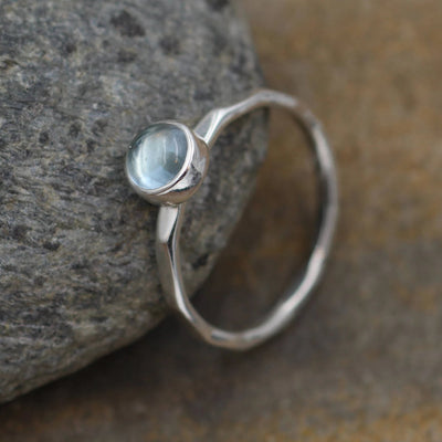 Blue Topaz Bezel Ring -  Stackable Ring - 5mm glossy finish - Hammered Texture - Topaz Stacking - Sterling Stacking - Topaz Stackable
