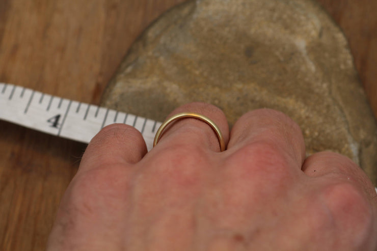 Wide Yellow Gold Band 3.5x 1.5mm, Matte Finish , Comfort Fit - Smooth Band - Engravable Band - Half Round Gold Band - Hand Made