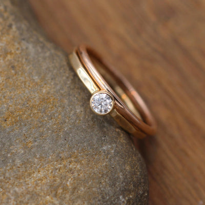 VS Diamond 3.5mm Yellow and Rose Gold Glossy Bezel Stacking Ring Set - Petite Diamond Ring -Diamond Ring - Diamond Ring Set - VS Diamond