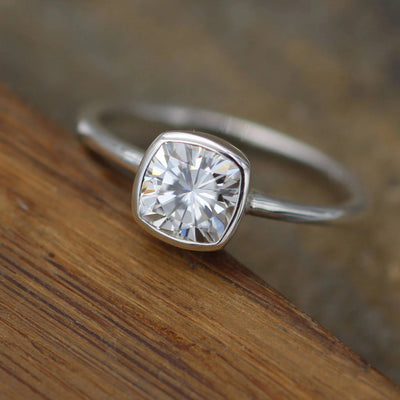 Moissanite Cushion Cut Bezel White Gold Solitaire Ring - 6x6mm Forever One Moissanite - Glossy Moissanite Ring - Moissanite Solitaire