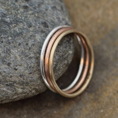 Silver, Yellow and Rose Gold 1.4mm Round Stacking Ring Set - 3 Rings - Ring Set - Smooth Rings, Mixed Finish