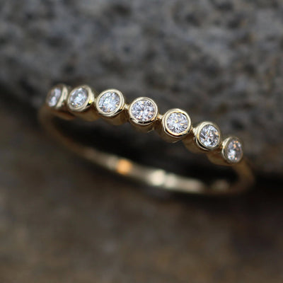 Diamond Small Bezel Wedding Ring in Gold - Glossy Finish- Alternative Engagement Ring - Diamond Bezel - Diamond Ring
