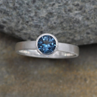 London Blue Topaz Ring - 6mm Matte Finish Solitaire Bezel Ring - Round Topaz Ring - Alternative Ring - Recycled - Engravable Ring