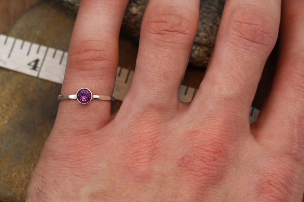 Amethyst Round Ring - 5mm, Glossy Finish - Skinny Stacking Ring - Stacking Band - Stackable - Amethyst Silver