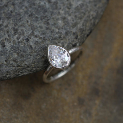 Moissanite Pear Bezel Ring - Moissanite Solitaire Ring - Moissanite Pear Ring - Forever One Pear Ring - Moissanite Bezel Ring