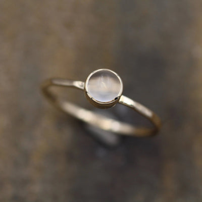 Moonstone Gold Bezel Stacking Ring - 5mm Glossy Finish - Skinny Moonstone Ring - Hammered Band - Round Moonstone Ring