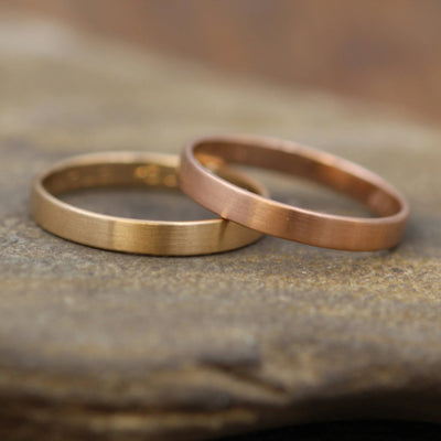 Rose Gold and Yellow Gold Wide Band 3x1mm Ring Set with Matte Finish - Hand Made in solid 14 kt Gold - Wider Bands - Thin Gold Rings