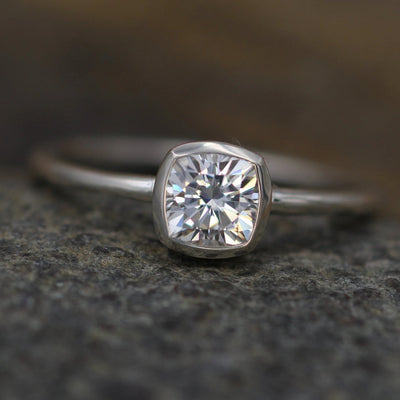 Moissanite Cushion Cut Bezel 5x5mm White Gold Solitaire Ring -  Forever One Moissanite - Glossy Moissanite Ring - Moissanite Solitaire