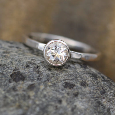 White Topaz Bezel Stacking Ring - 1.6mm band - Silver or Gold Stacking Ring - Bezel Ring - Topaz Bezel Ring - Topaz Stacking Ring