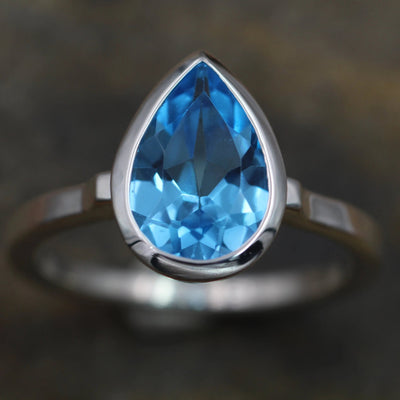 Swiss Blue Topaz Bezel Ring - Topaz Pear Cut Ring - Topaz Tear Drop Ring - Ice Blue Topaz - Topaz Honker - Topaz Alternative Engagement