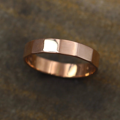 Rose Gold Faceted Glossy Wide Band - 4x1mm - Hand Made in 14kt Rose Gold - Mens or Womens Wide Band - Wide Rose Gold Ring - Rose Gold Band