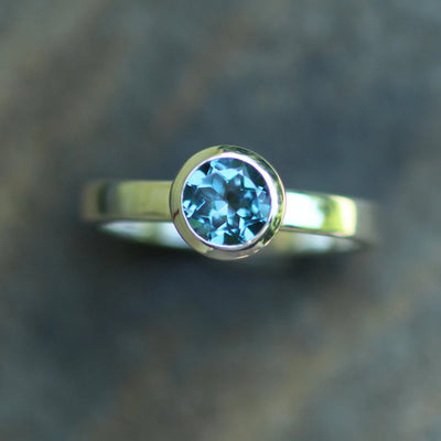 London Blue Topaz Ring - 6mm Glossy Finish Solitaire Bezel Ring - Round Topaz Ring - Alternative Ring - Recycled - Engravable Ring