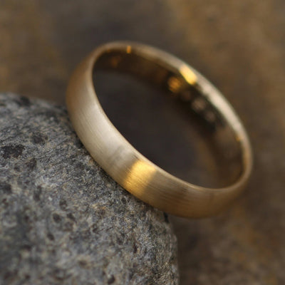 Wide Yellow Gold Band 4x 1.5mm, Matte Finish , Comfort Fit - Smooth Band - Engravable Band - Half Round Gold Band - Hand Made