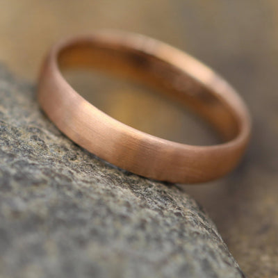 Wide 14kt Rose Gold Band 5.5x1.7mm, Matte Finish , Comfort Fit - Smooth Band - Engravable Band - Half Round Gold Band - Hand Made
