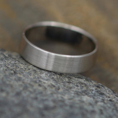 14kt White Gold Wide Band - 5x1mm Matte Finish - Mens Wide Band - Thin Gold Ring - White Gold Band - Low Profile Gold Band