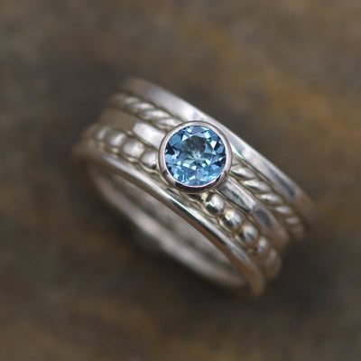 London Blue Topaz Bezel Stacking Ring Set - 1.5mm band - Silver Stacking Ring Set - Bezel Ring - Topaz Bezel Ring - Topaz Stacking Ring