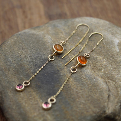 Amber and Pink Tourmaline Threader Earrings - Hand Made in Solid 14 kt Yellow Gold - Threaders - Bezel Threaders - Amber Earrings