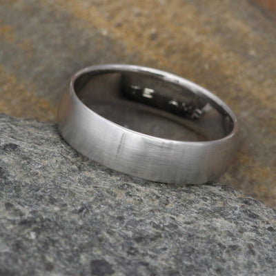 Wide Platinum Comfort Fit 6x1.4mm Half Round Matte Band - Mens Platinum Band - Platinum Band of Substance - Hand Made Platinum Band