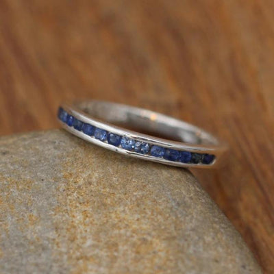 Sapphire Channel Wedding Band - Half Channel - Sapphire Ring - Channel Ring in Recycled Sterling Sterling or Karat Gold