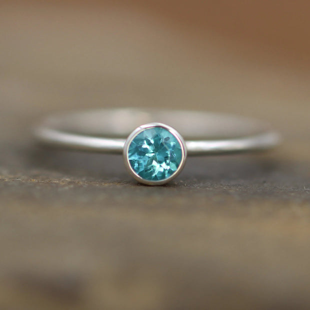 Apatite Silver Stacking Bezel Ring - 1.4mm Glossy Stacking Ring - Apatite Ring - Silver or Gold Stacking Ring -  Blue Stacking Ring