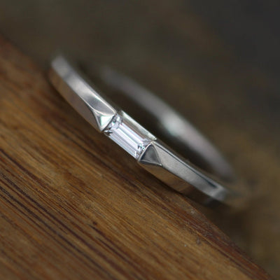 White Sapphire Channel Baguette Knife Edge Ring - Dainty Glossy Finish Ring - Knife Edge Ring - Alternative Engagement Ring - Baguette Ring