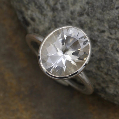White Topaz Oval Ring - Glossy Finish Oval Bezel - Sterling Silver Topaz Ring - Rock Fettish Ring - Alternative Engagement Ring
