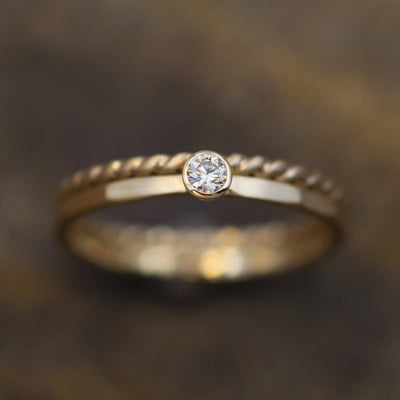 VS Diamond Yellow Gold Matte Stacking Ring Set - Petite Diamond Ring - Twist Wire Diamond Ring - Diamond Ring Set - VS Diamond Ring