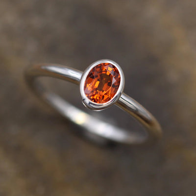 Oval Spessartite Bezel Ring - Orange Garnet Ring - Natural Orange Garnet Ring - Spessartite Solitaire Ring - Alternative Engagement Ring