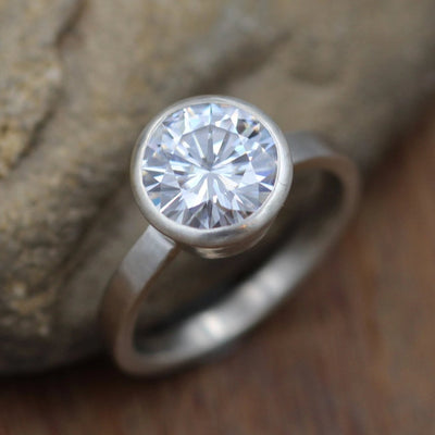 Moissanite Alternative Engagement Ring, 8mm 1.6 ct  Matte Finish Bezel Ring - Forever One- Traditional - Bezel Ring