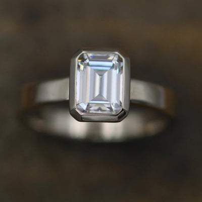Moissanite Octagon 6x8mm Glossy Bezel Ring -  Alternative Engagement Ring - 1.6ct Moissanite - Moissanite Bezel - Glossy Finish- Forever One