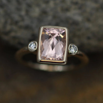 Morganite Cushion Cut Bezel Multistone Ring - 7x9mm 2 carat Morganite - Glossy Morganite Ring - Morganite Bezel - Morganite Solitaire Ring