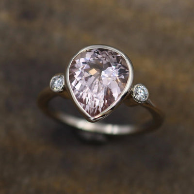 Morganite Pear Bezel Ring - 9x11mm Morganite - Morganite and Diamond Ring - Canadian Diamond Ring - Conflict Free Ring