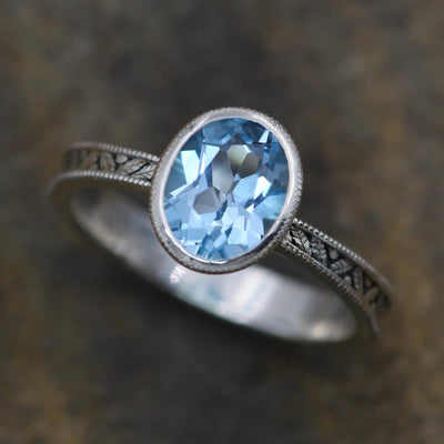 Oval Blue Topaz Hand Made Vintage Engagement Bezel Ring - Milgrain Ring - Leaf Ring - Leaf Engagment Ring - Alternative Engagement Ring