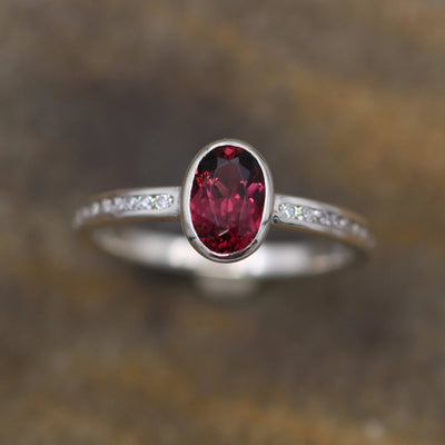 Rhodolite Garnet Bezel and Moissanite Channel Ring - Alternative Engagement Ring - Garnet Bezel Ring  - Rhodolite Engagement Ring