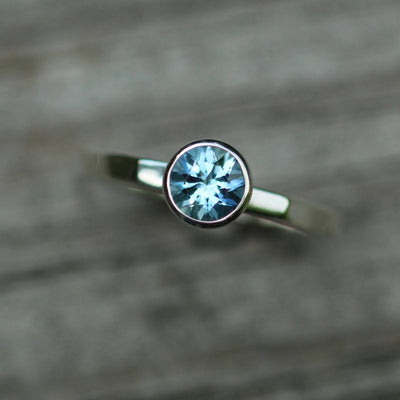 Aquamarine Large Stacking Bezel Ring - Large Aquamarine Ring - Aquamarine Engagement Ring - Alternative Engagement Ring