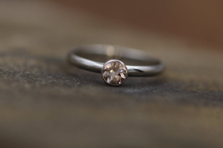 Morganite Platinum Bezel Solitaire Ring - 4mm round morganite Ring - Morganite Bezel Ring - Morganite Engagement Ring Platinum Band