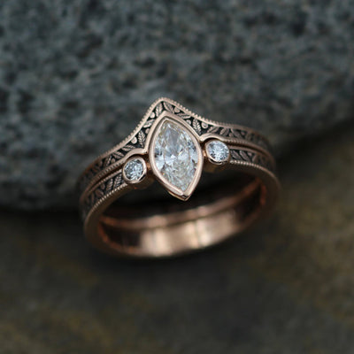Diamond Rose Gold Hand Made Vintage Engagement Ring Set - Marquise Ring - Leaf Engagment Ring - Diamond Ring - Diamond Bezel Ring