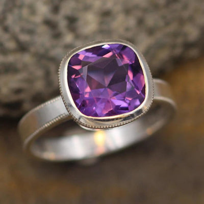 Amethyst Cushion Cut Bezel Ring with Milgrain Bezel - Honker Amethyst Ring - Cushion Cut Square Bezel Ring - Milgrain Ring - Amethyst Square
