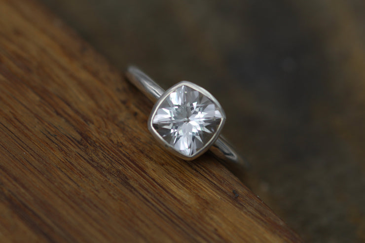 Cushion Cut White Topaz Bezel Ring - Checkerboard Cut White Topaz Bezel Ring - White Topaz Alternative Engagement Ring - Topaz Solitaire