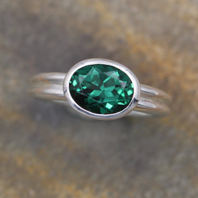 Oval Emerald Bezel Ring - East West Emerald Ring - Chatham Created Emerald Ring -  Emerald Solitaire - Alternative Engagment Ring