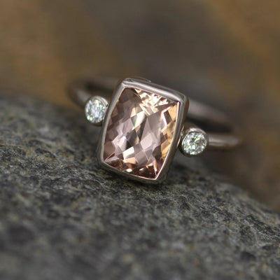 Morganite Diamond Palladium White gold Cushion Cut Multi Bezel Ring - 7x9mm 2 carat Morganite - Glossy Morganite Ring - Morganite Bezel