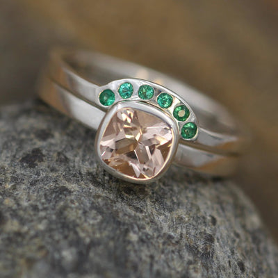 Morganite and Emerald Ring Set - 6x6mm Morganite With Wraparound - Glossy Morganite Ring - Morganite Bezel - Morganite Ring Set